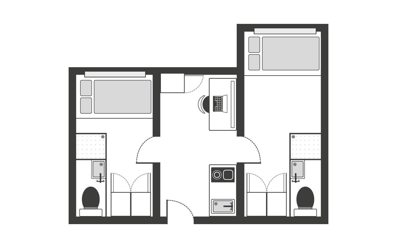 2 Bed Apartment Kentish Town Floor Plan - The Stay Club