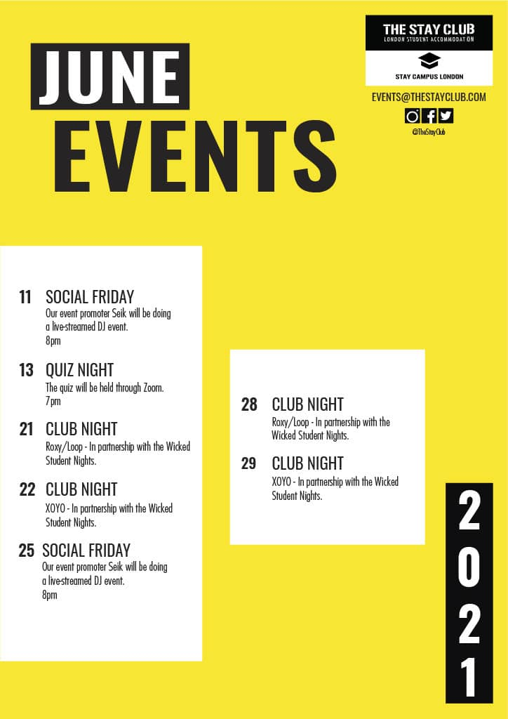 The Stay Club Events - June 2021